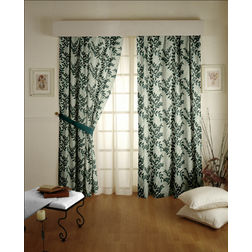 Raindrop Floral Readymade Curtain - 37, window, green