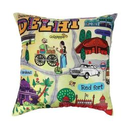 The Elephant Company Delhi Map Home Cushion Covers, multi