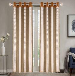 Sheer Curtains Dreamscape, Geometric Brown Sheer Curtains, brown, door