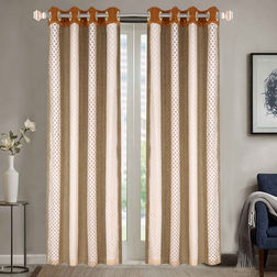 Sheer Curtains Dreamscape, Geometric Brown Sheer Curtains, door, brown
