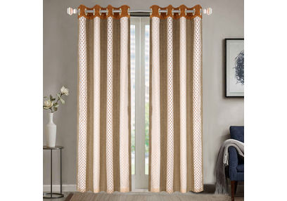 Sheer Curtains Dreamscape, Geometric Brown Sheer Curtains, brown, door