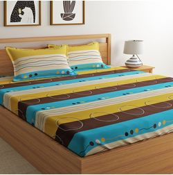 100% Cotton 140TC Stripe Designs Bed Sheet with 2 Pillow Covers, double, multi