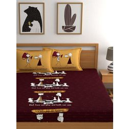 My Room 210TC Sateen Queen Maroon Double Bedsheets With 2 Pillow Covers, double, maroon