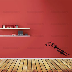 Kakshyaachitra Trumpet Music Wall Stickers For Bedroom And Living Room, 24 14 inches