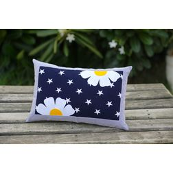 Star With Flower Cushion Cover MYC-14, pack of 1, blue