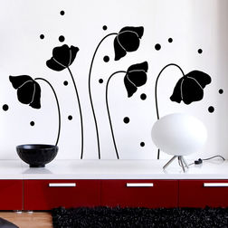 Wall Stickers Home Decor Line Black Flower Silhoutte - 57715