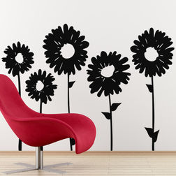 Kakshyaachitra Sun Flowers Wall Stickers For Bedroom And Living Room, 33 24 inches