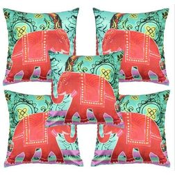 My Room Satin Green & Blue Elephant Cushion Covers, pack of 5, multi