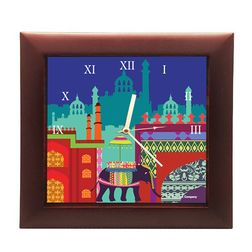 The Elephant Company Elephant Savari Square Desginer Wall Clocks, blue