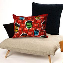 The Elephant Company Taxi Meter Rectangle Designer Cushion Covers, red