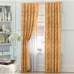 Constellation Floral Readymade Curtain - AT104, brown, window
