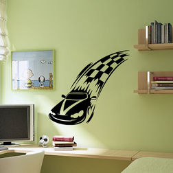Kakshyaachitra F1 Race Car Wall Stickers For Kids Room, 48 44 inches