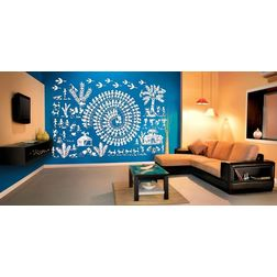 Kakshyaachitra Warli Art Village Wall Stickers For Bedroom And Living Room, 48 32 inches