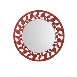 Aasra Decor Leaf Border Mirror Decor Wall Mirror, orange