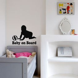 Kakshyaachitra Baby on board Crawling Kids Wall Stickers, 24 20 inches