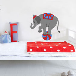 Kakshyaachitra An Elephant Playing With Ball in Circus Kids Wall Stickers, 48 44 inches