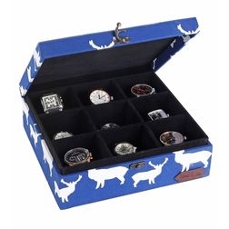 Deer Watch and Belt Organiser Box - HS131, blue