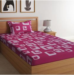 100% Cotton 140TC Geometric Designs Bed Sheet with 1 Pillow Covers, single, pink