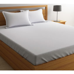Satin Bed sheet 300 Thread Count with Two Pillowcovers, 100% Cotton King & Double,  white, king