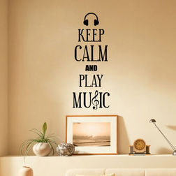 Kakshyaachitra Keep Calm and Play Music Wall Stickers For Bedroom And Living Room, 10 24 inches