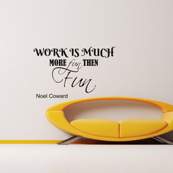 Kakshyaachitra Work is More Fun than Fun Wall Stickers For Bedroom And Living Room, 48 28 inches