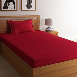 100% Cotton 220TC High Thread Count Satin Stripe Bed Sheet with 1 Pillow Covers, single, maroon