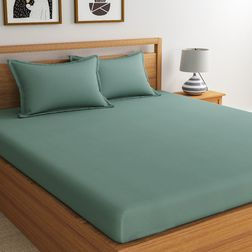 Satin Bed sheet with Two Pillowcovers, 100% Cotton 500 Thread Count,  light blue, double