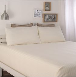 Satin Bed sheet 300 Thread Count with Two Pillowcovers, 100% Cotton, double, cream