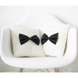 Bow Style Cushion Cover MYC-87, pack of 2, white