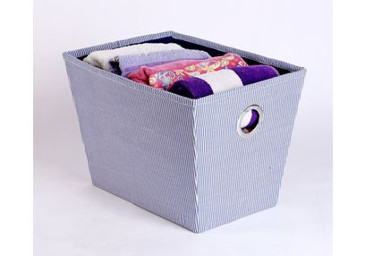 Towel Basket,  stripe navy blue