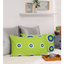 HomeEcstasy 100% Cotton 140TC Printed Green Pillow Pair, green