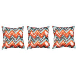 My Room Satin Orange and Green Abstract Cushion Covers, pack of 3, orange
