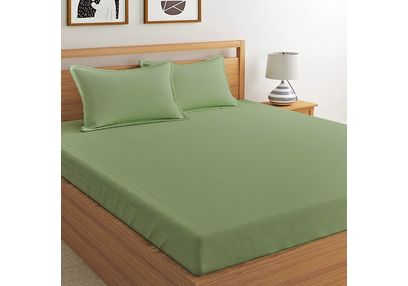 Satin Bed sheet 400 Thread Count with Two Pillowcovers, 100% Cotton, double,  taupe
