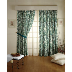 Raindrop Floral Readymade Curtain - 35, long door, green