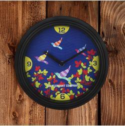 The Elephant Company Gond Art Birds Antique Modern Wall Clocks, blue