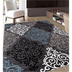 Floor Carpet and Rugs Hand Tufted AC Concept Ethnic Black Carpets Online - A1-34-L, 3ftx5ft, black