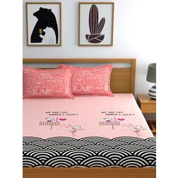 My Room 210TC Sateen Queen Pink Double Bedsheets With 2 Pillow Covers, double, pink