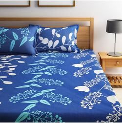 Home Ecstasy 100% Cotton 140TC One Bed sheet With Two Pillow Covers New, double,  blue
