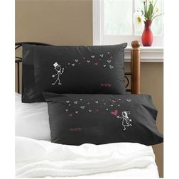 Boy Girl Pillow Cover MYC-79, pack of 2, black