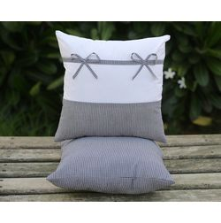 Set of 2 Bow Cushion Cover MYC-21, pack of 2, white