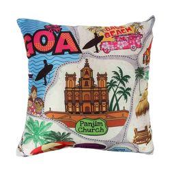 The Elephant Company Goa Map Square Designer Cushion Covers, beige