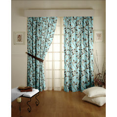 Romania Floral Readymade Curtain - 36, door, blue