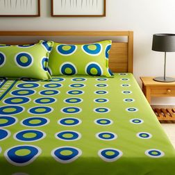 Home Ecstasy 100% Cotton 140TC One Bed sheet With Two Pillow Covers, double, green