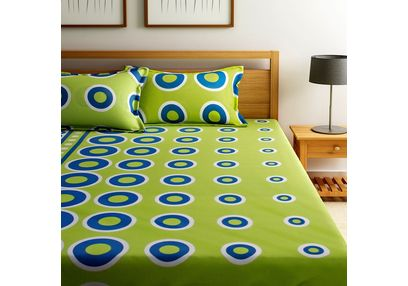 Home Ecstasy 100% Cotton 140TC One Bed sheet With Two Pillow Covers,  green, double