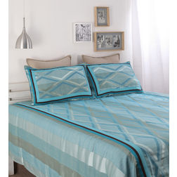 Dreamscape Polycotton Blue Geometric Bedcover, with 2  pillow covers, blue