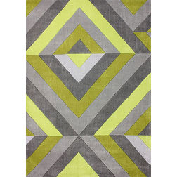 Floor Carpet and Rugs Hand Tufted AC Concept Geometric Green Carpets Online - A1-08-L, 3ftx5ft, green