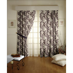 Raindrop Floral Readymade Curtain - 44, door, purple