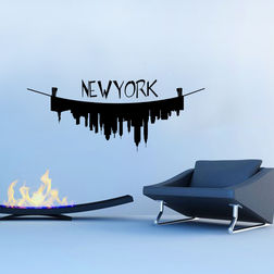 Kakshyaachitra New York on the Line Wall Stickers For Bedroom And Living Room, 24 10 inches
