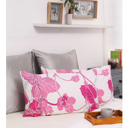 Dreamscape 100% Cotton 144TC Printed Pink Pillow Pair, pink