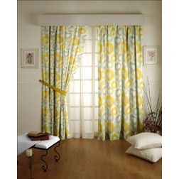 Passion Geometric Readymade Curtain - 25, yellow, long door
